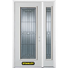 50.25 inch x 82.375 inch Seattle Zinc Full Lite Prefinished White Left-Hand Inswing Steel Prehung Front Door with Sidelite and Brickmould