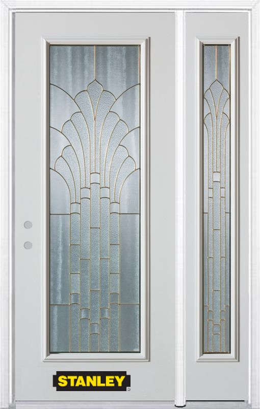 Stanley Doors 48.25 inch x 82.375 inch Gladis Brass Full Lite Prefinished White Right-Hand Inswing Steel Prehung Front Door with Sidelite and Brickmould