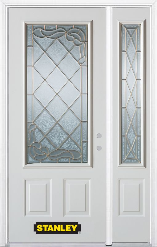 Stanley Doors 48.25 inch x 82.375 inch Queen Anne Brass 3/4 Lite 2-Panel Prefinished White Left-Hand Inswing Steel Prehung Front Door with Sidelite and Brickmould
