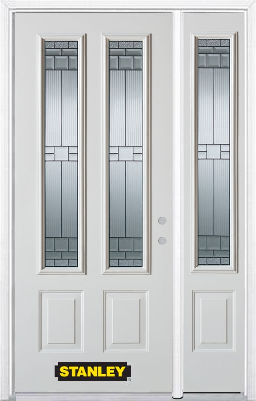 48-inch x 82-inch Seattle 2-Lite 2-Panel White Steel Entry Door with Sidelite and Brickmould