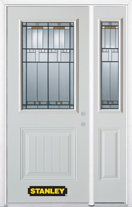 Stanley Doors 52.75 inch x 82.375 inch Chicago Patina 1/2 Lite 1-Panel Prefinished White Left-Hand Inswing Steel Prehung Front Door with Sidelite and Brickmould