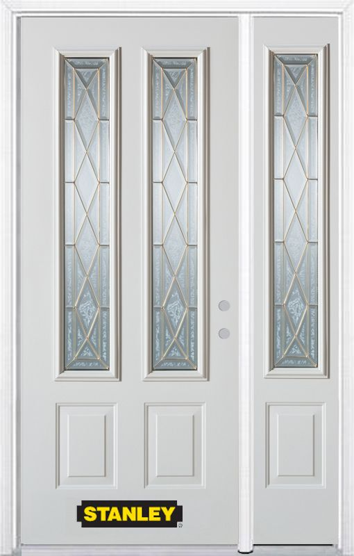 50-inch x 82-inch Queen Anne 2-Lite 2-Panel White Steel Entry Door with Sidelite and Brickmould