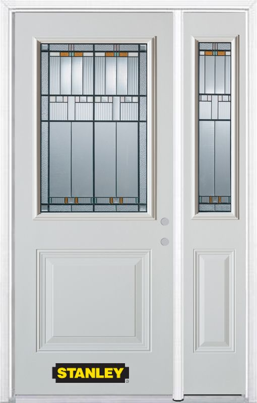 48-inch x 82-inch Chicago 1/2-Lite 1-Panel White Steel Entry Door with Sidelite and Brickmould