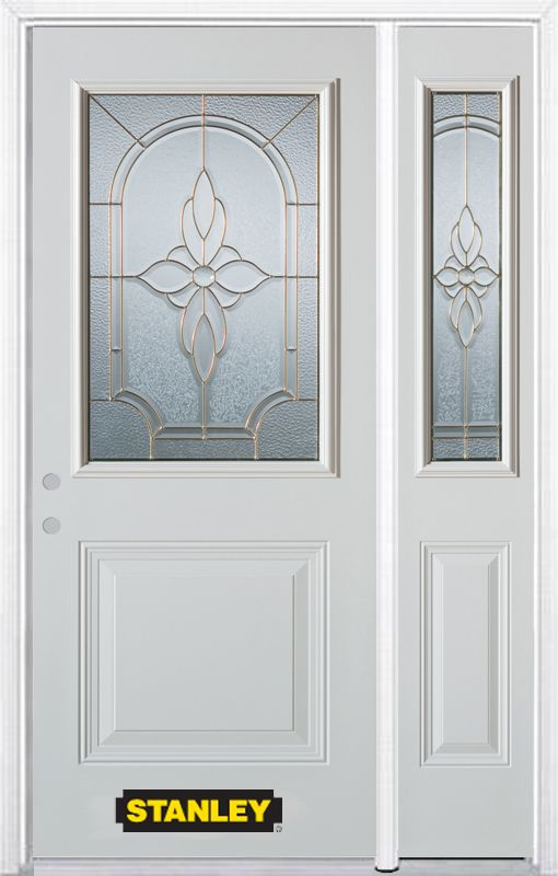 Stanley Doors 48.25 inch x 82.375 inch Trellis Brass 1/2 Lite 1-Panel Prefinished White Right-Hand Inswing Steel Prehung Front Door with Sidelite and Brickmould