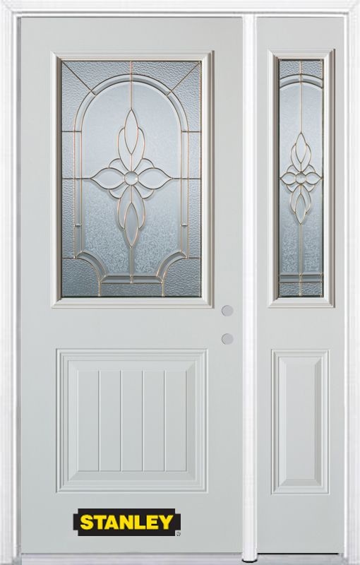 Stanley Doors 48.25 inch x 82.375 inch Trellis Brass 1/2 Lite 1-Panel Prefinished White Left-Hand Inswing Steel Prehung Front Door with Sidelite and Brickmould