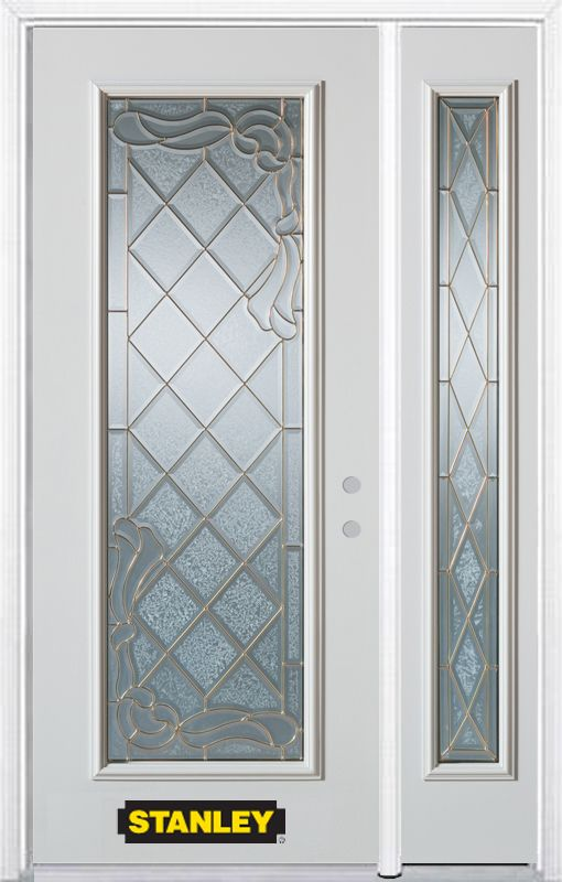 Stanley Doors 48.25 inch x 82.375 inch Queen Anne Brass Full Lite Prefinished White Left-Hand Inswing Steel Prehung Front Door with Sidelite and Brickmould