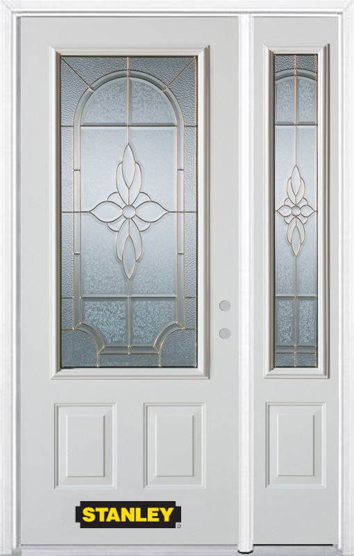 52-inch x 82-inch Trellis 3/4-Lite 2-Panel White Steel Entry Door with Sidelite and Brickmould