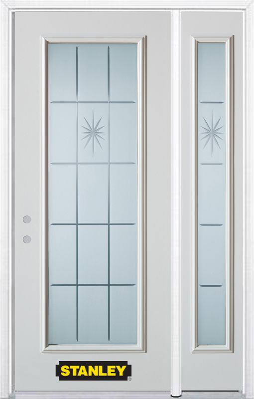 Stanley Doors 48.25 inch x 82.375 inch Beaujolais Full Lite Prefinished White Right-Hand Inswing Steel Prehung Front Door with Sidelite and Brickmould