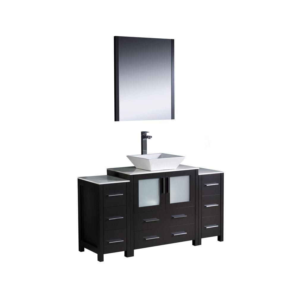 Torino 54-inch W Vanity in Espresso Finish with 2 Side Cabinets and Vessel Sink