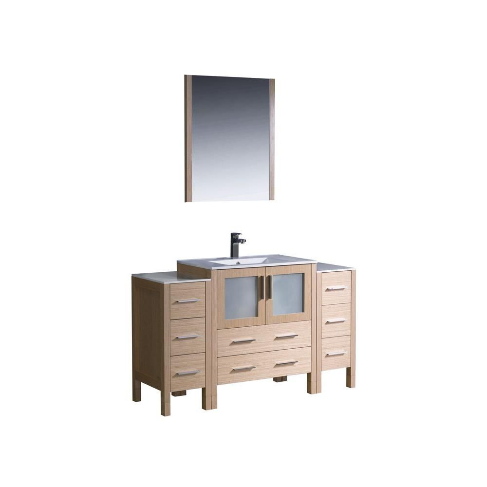 Torino 54-inch W Vanity in Light Oak Finish with 2 Side Cabinets and Undermount Sink