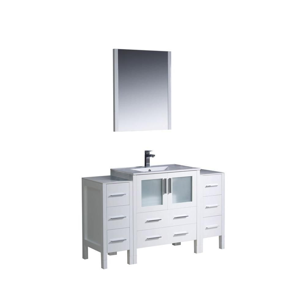 Torino 54-inch W Vanity in White Finish with 2 Side Cabinets and Undermount Sink