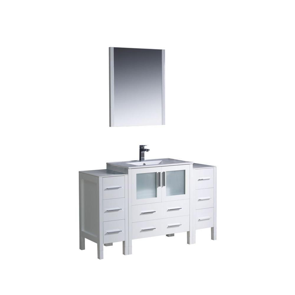 Torino Meuble-lavabo de salle de bains moderne 54 po blanc avec 2 armoires latérales et évier sou...