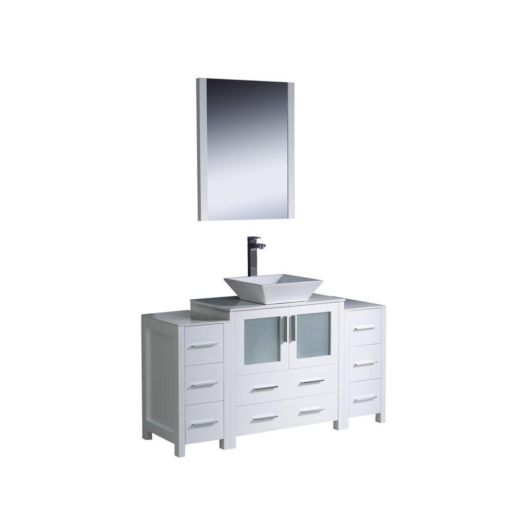 Torino 54-inch W Vanity in White Finish with 2 Side Cabinets and Vessel Sink