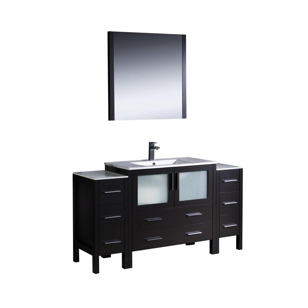 Torino 60-inch W Vanity in Espresso Finish with 2 Side Cabinets and Undermount Sink