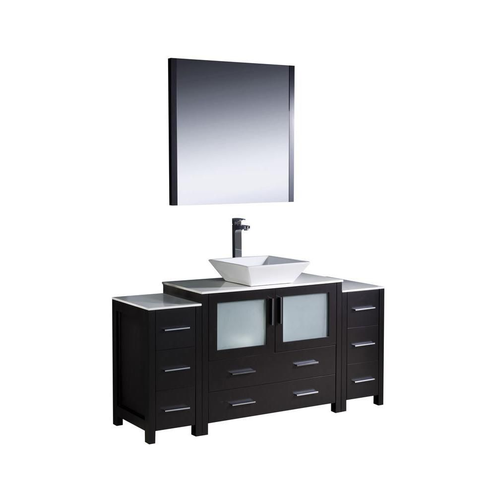 Torino 60-inch W Vanity in Espresso Finish with 2 Side Cabinets and Vessel Sink