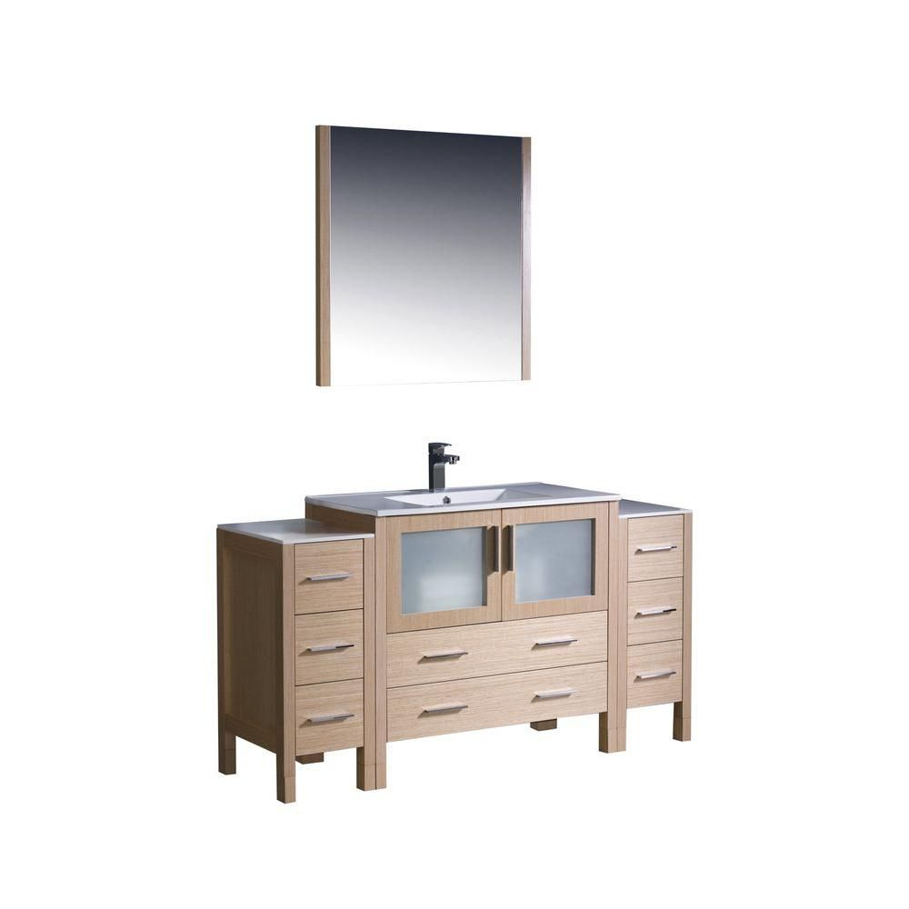 Torino 60-inch W Vanity in Light Oak Finish with 2 Side Cabinets and Undermount Sink
