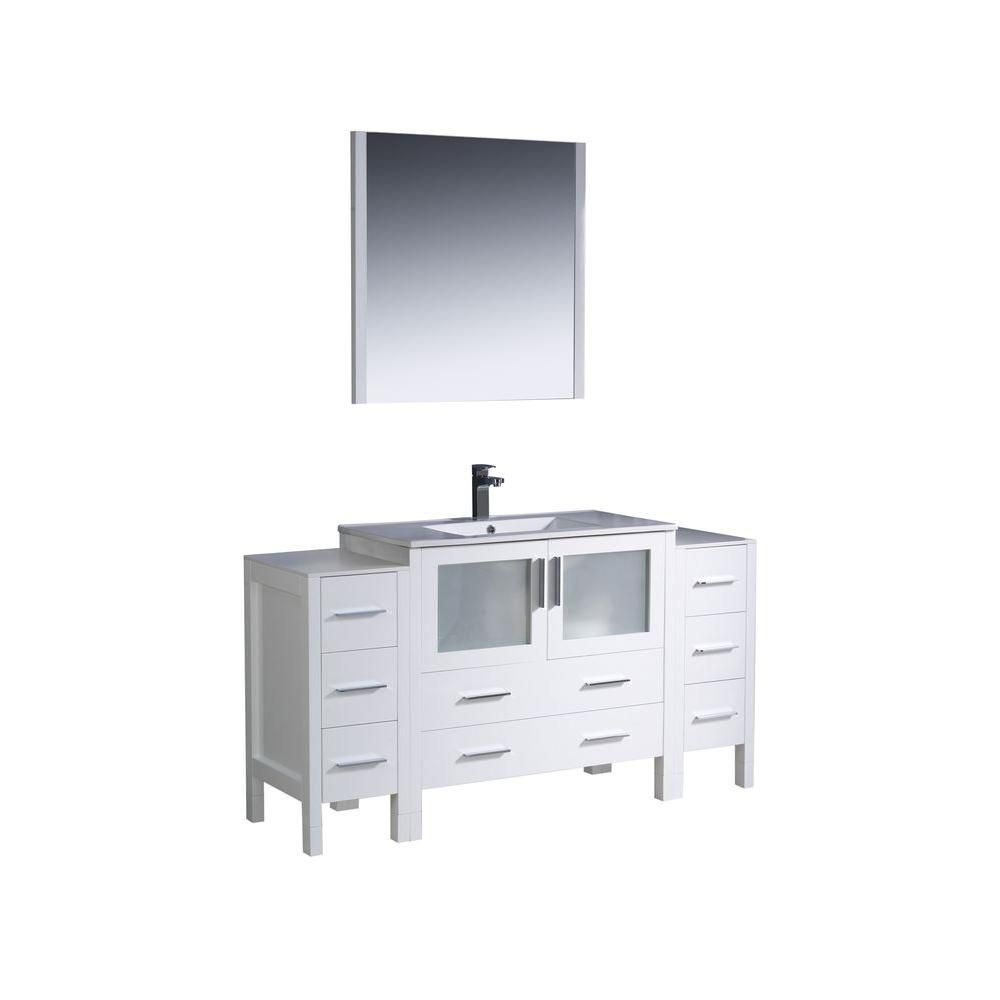 inch w vanity in white finish with 2 side cabinets and undermount sink