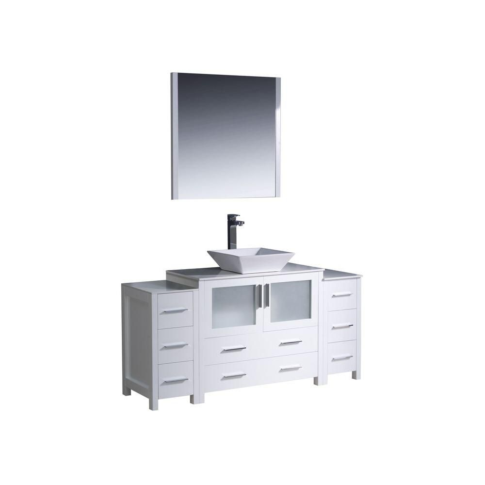 Torino Meuble-lavabo de salle de bains moderne 60 po blanc avec 2 armoires latérales et évier vas...