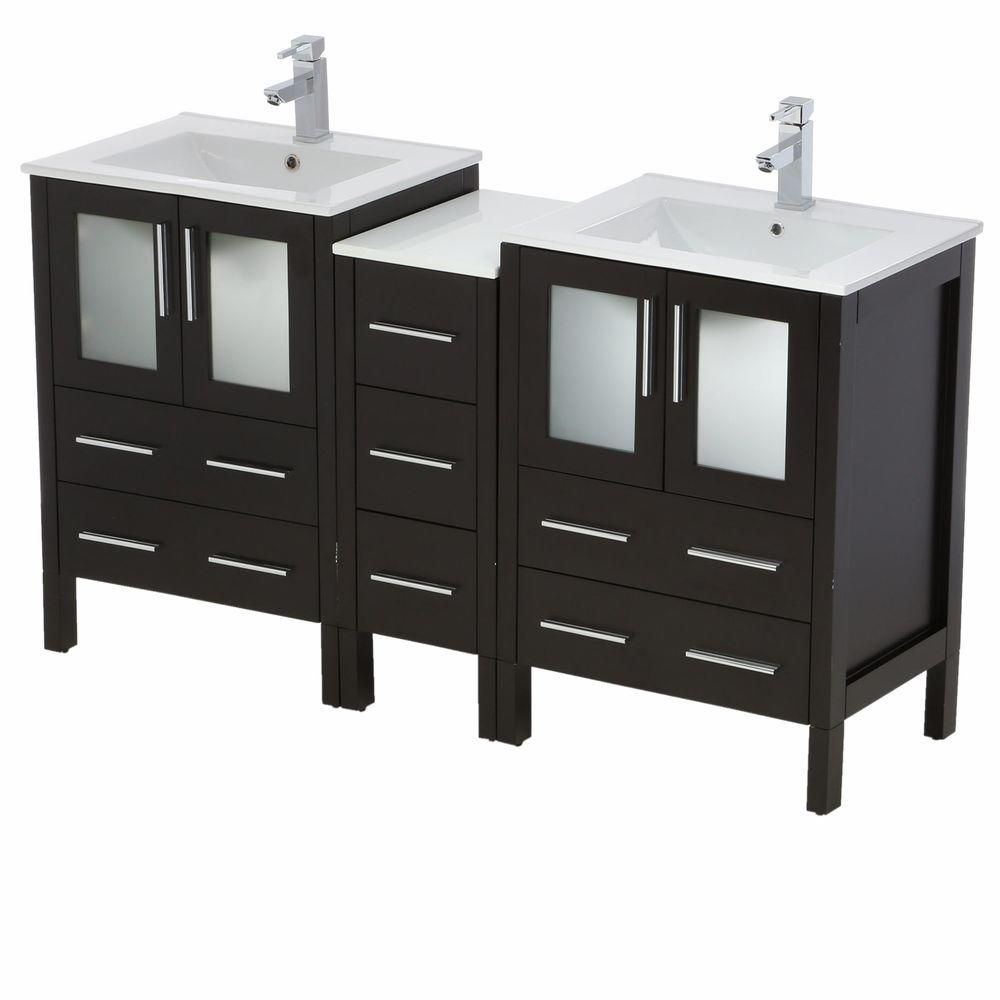 Torino 60-inch W Double Vanity in Espresso with Side Cabinet and Undermount Sinks