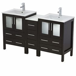 Fresca Torino 60-inch W 7-Drawer 4-Door Vanity in Black With Ceramic Top in White, Double Basins