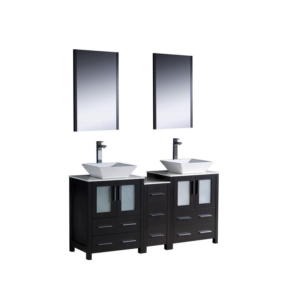 Torino 60-inch W Double Vanity in Espresso with Side Cabinet and Vessel Sinks