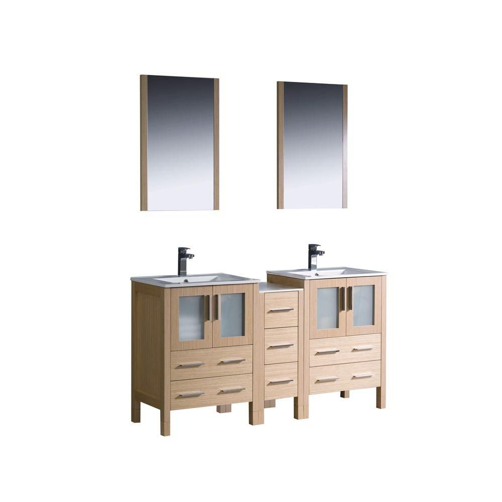 Torino 60-inch W Double Vanity in Light Oak with Side Cabinet and Undermount Sinks