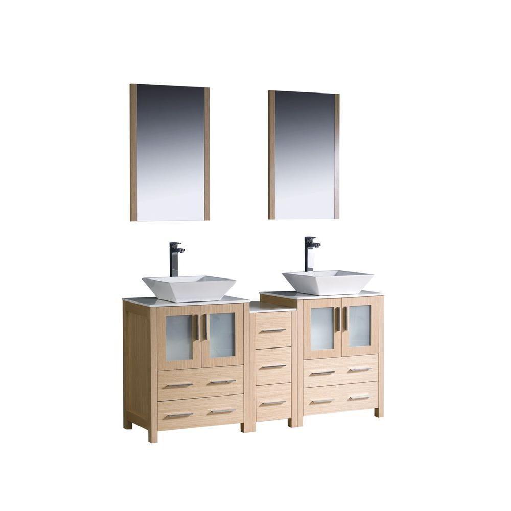 Torino Meuble-lavabo de salle de bains moderne 60 po à évier double chêne clair avec armoire laté...