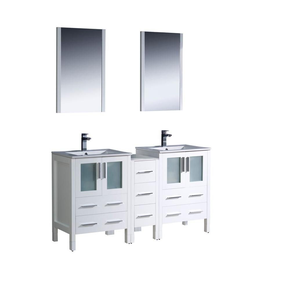 Torino 60-inch W Double Vanity in White with Side Cabinet and Undermount Sinks