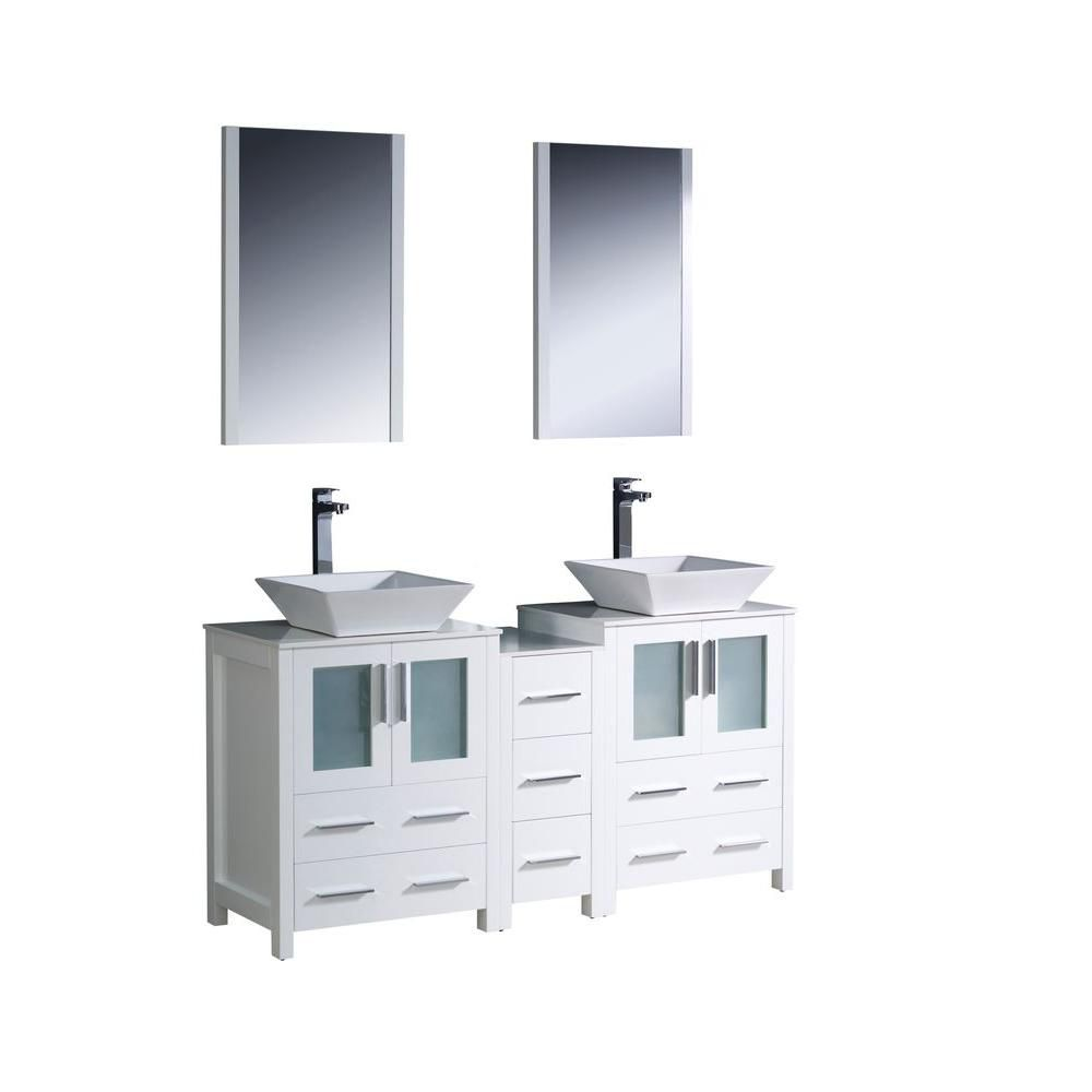 Torino 60-inch W Double Vanity in White with Side Cabinet and Vessel Sinks