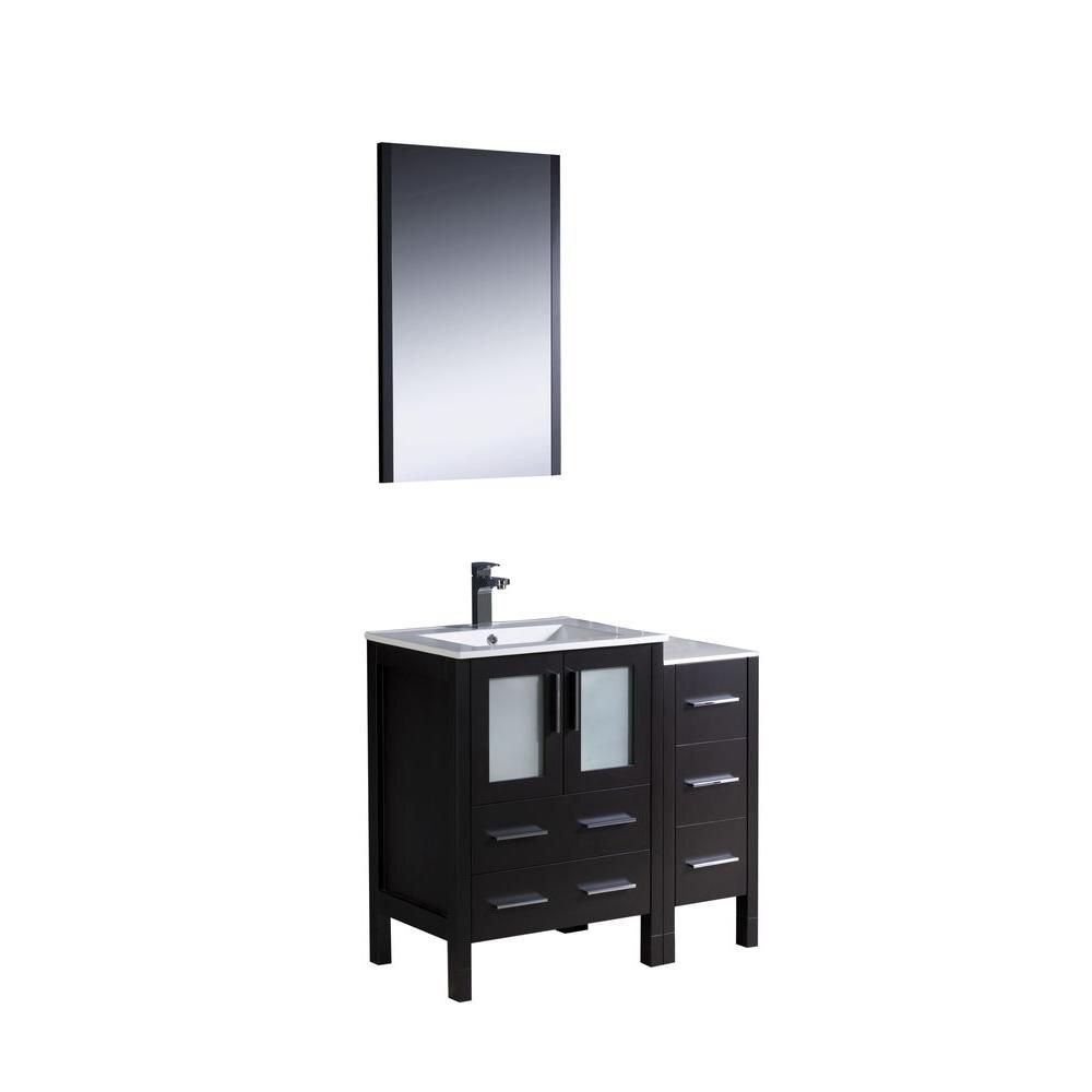 Fresca Torino 36-inch Vanity in Espresso with Ceramic Top in White with Mirror, White Basin and 1 Cabinet