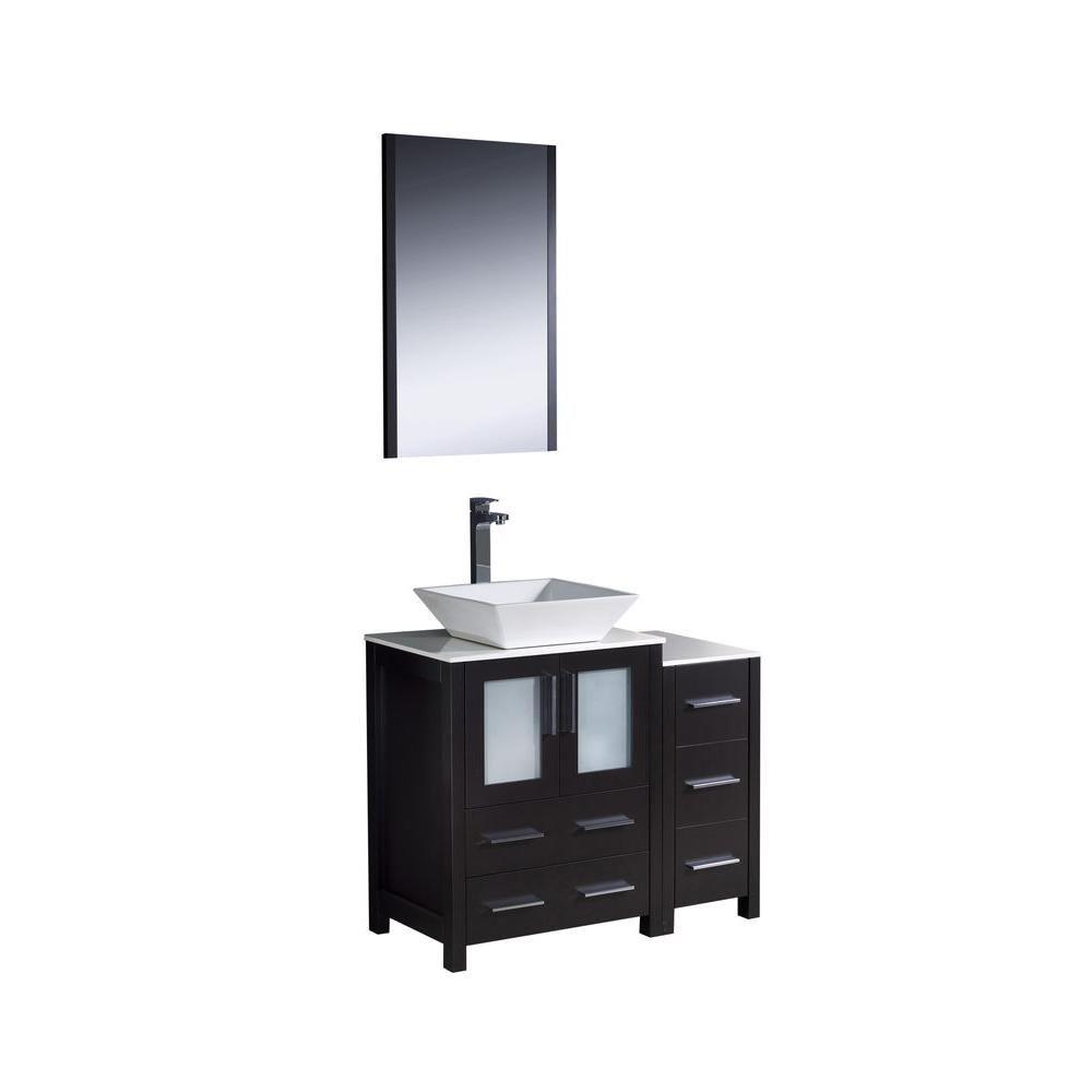 Torino Meuble-lavabo de salle de bains moderne 36 po espresso avec armoire latérale et évier vasq...