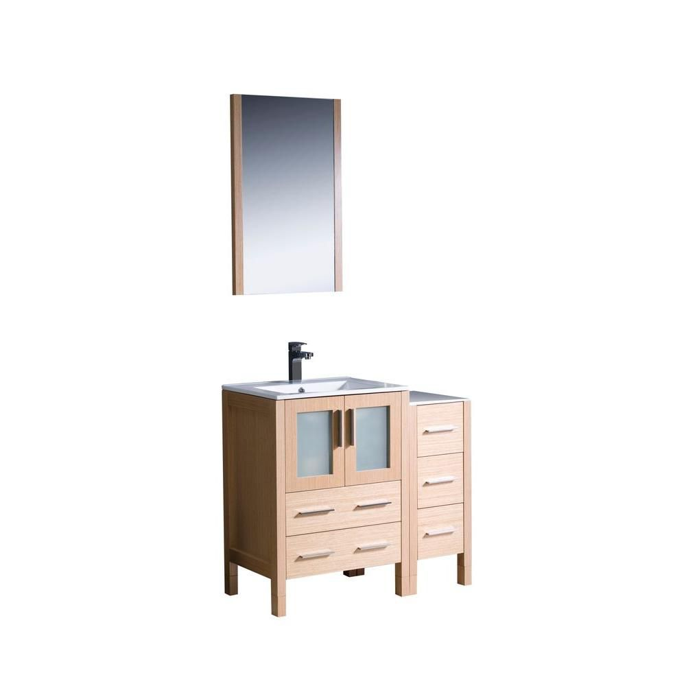 Torino 36-inch W Vanity in Light Oak with Side Cabinet and Undermount Sink