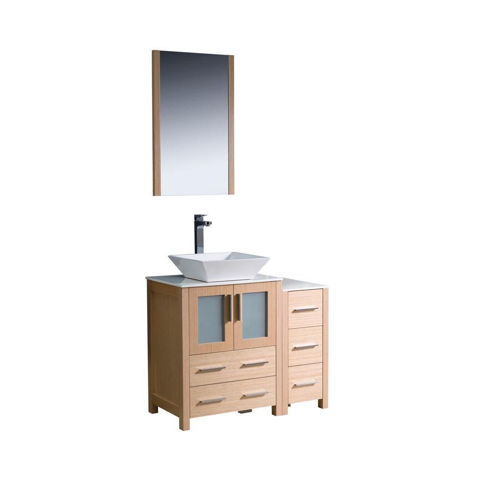 Torino Meuble-lavabo de salle de bains moderne 36 po chêne clair avec armoire latérale et évier v...