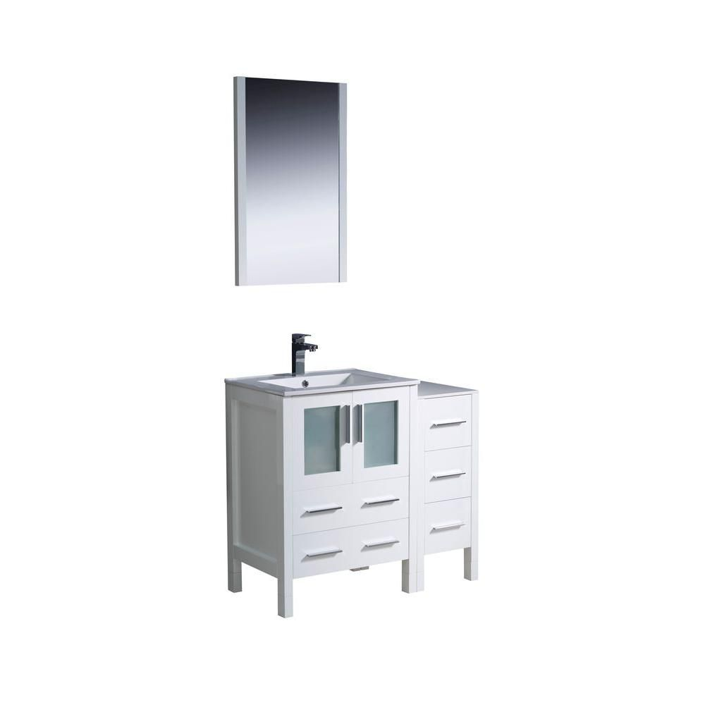 Torino 36-inch W Vanity in White Finish with Side Cabinet and Undermount Sink