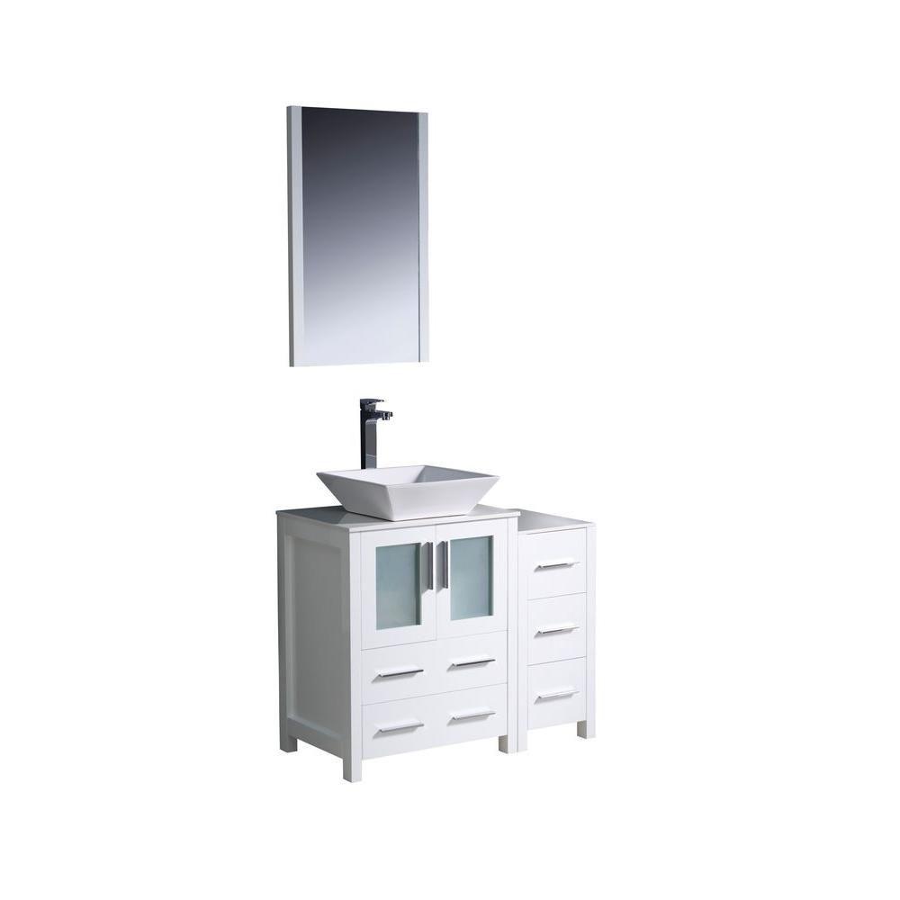 Torino Meuble-lavabo de salle de bains moderne 36 po blanc avec armoire latérale et évier vasque