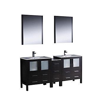 Fresca Torino 72-inch W 7-Drawer 4-Door Vanity in Black With Ceramic ...