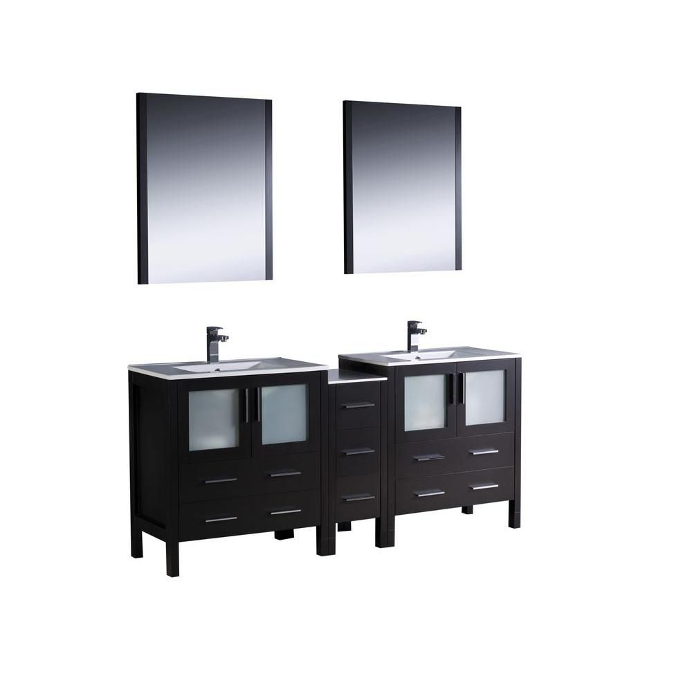 Torino 72-inch W Double Vanity in Espresso Finish with Side Cabinet and Undermount Sinks