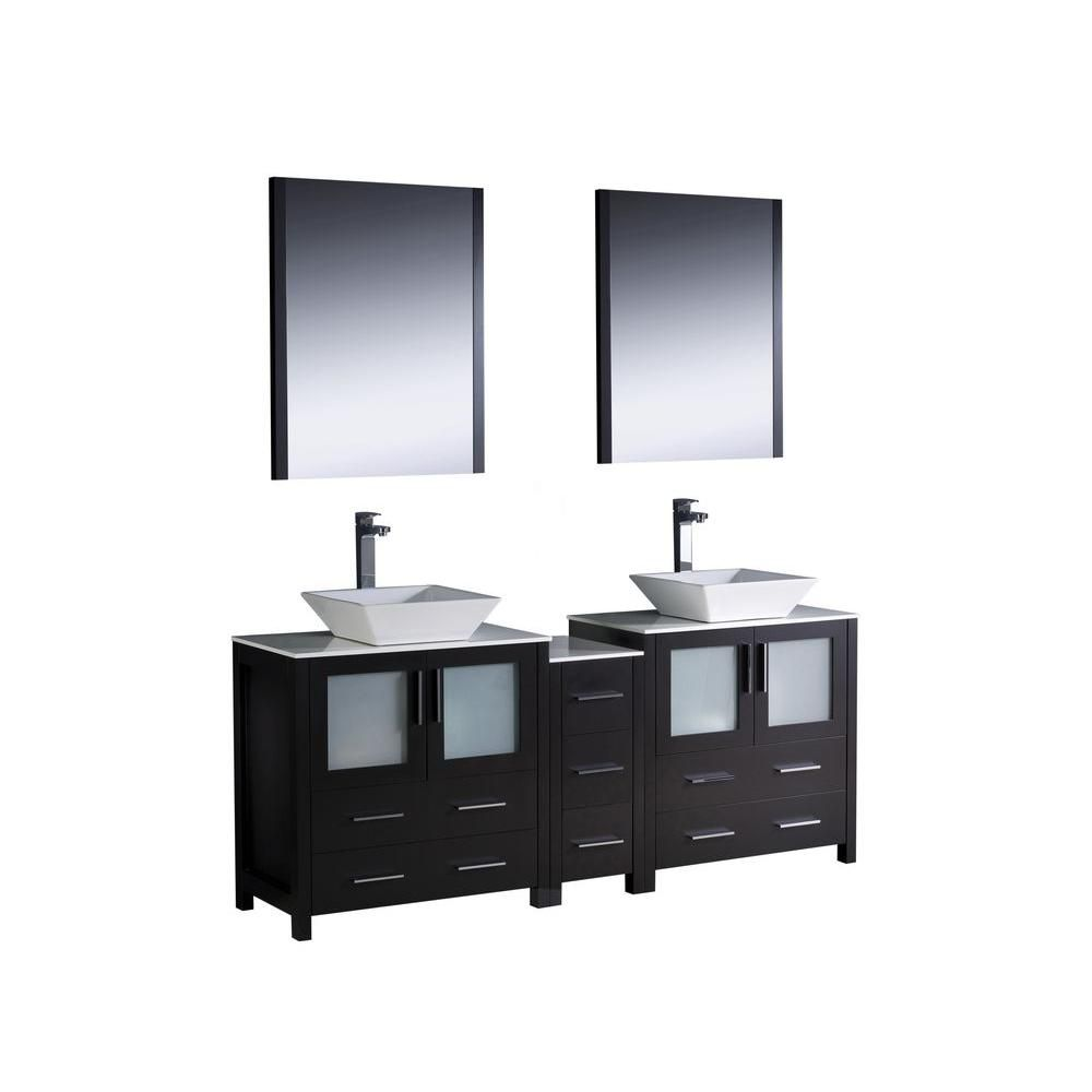 Torino 72-inch W Double Vanity in Espresso Finish with Side Cabinet and Vessel Sinks