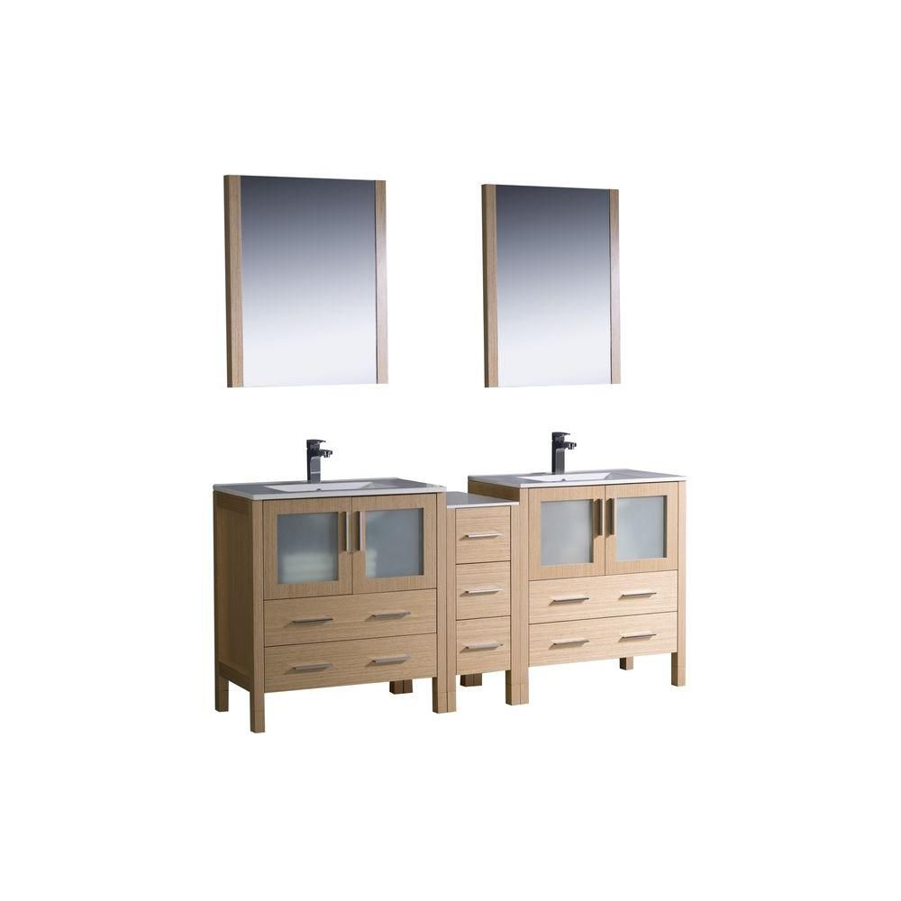 Torino 72-inch W Double Vanity in Light Oak Finish with Side Cabinet and Undermount Sinks