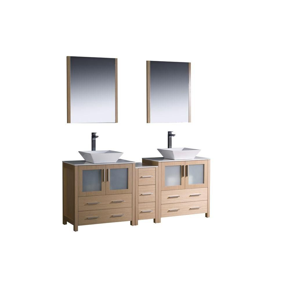 Torino 72-inch W Double Vanity in Light Oak Finish with Side Cabinet and Vessel Sinks