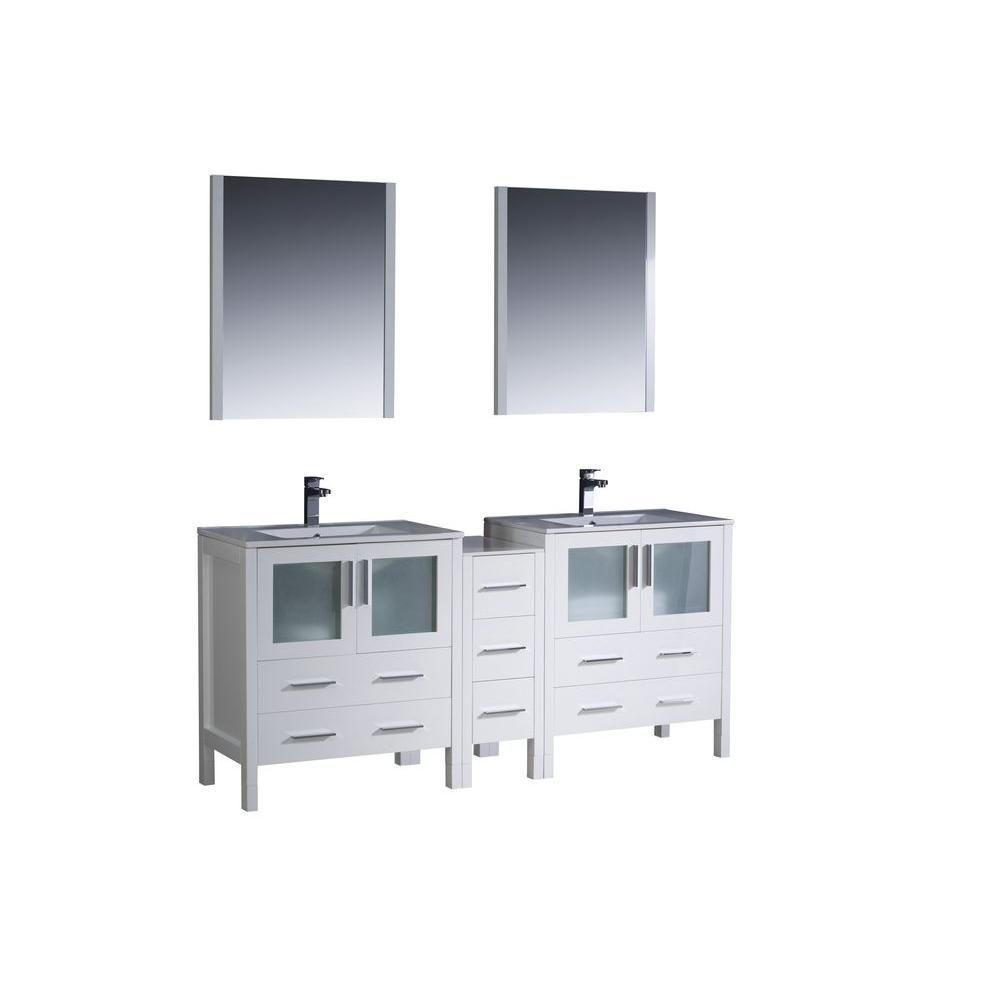 Torino Meuble-lavabo de salle de bains moderne 72 po à évier double blanc avec armoire latérale e...