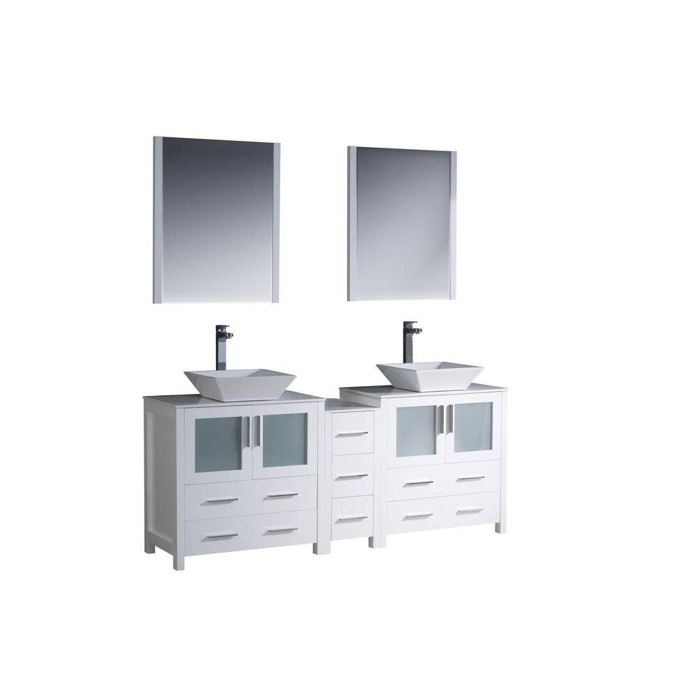 Torino 72-inch W Double Vanity in White Finish with Side Cabinet and Vessel Sinks