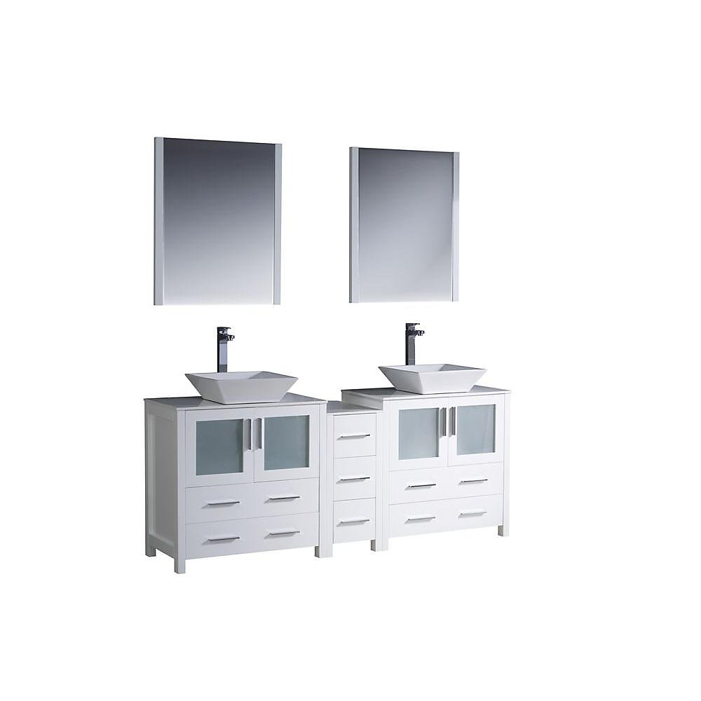 Torino 72-inch W 7-Drawer 4-Door Vanity in White With Ceramic Top in White, Double Basins