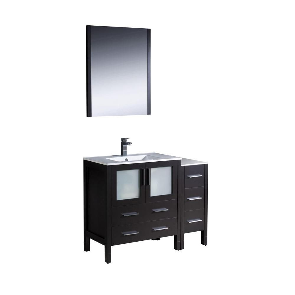 Torino 42-inch W Vanity in Espresso with Side Cabinet and Undermount Sink