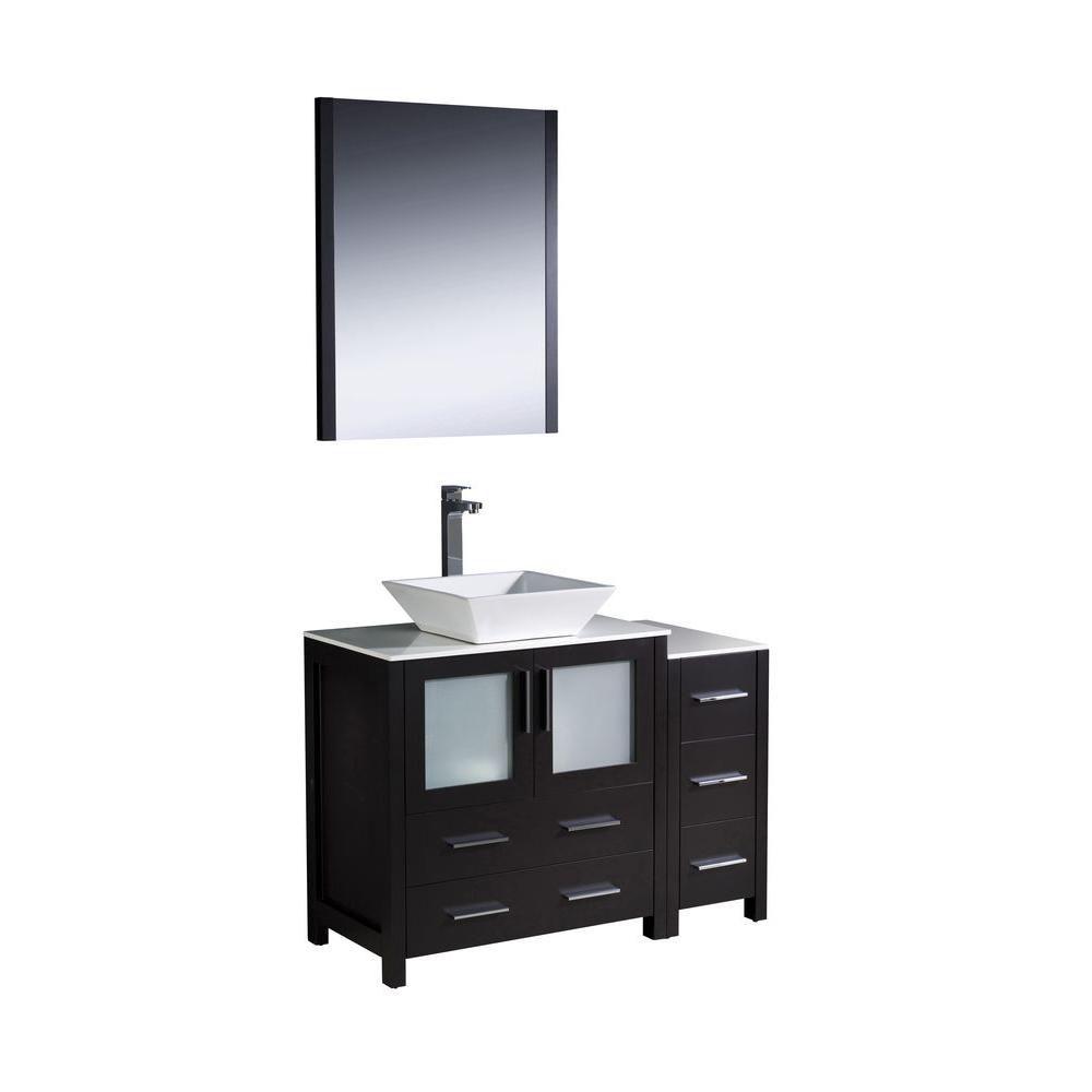 Torino Meuble-lavabo de salle de bains moderne 42 po espresso avec armoire latérale et évier vasq...