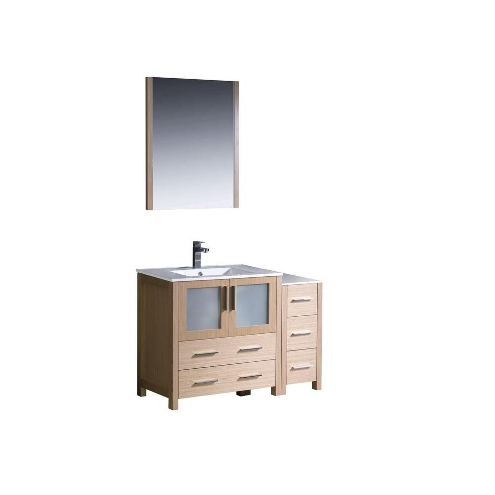 Torino 42-inch W Double Vanity in Light Oak Finish with Side Cabinet and Undermount Sink