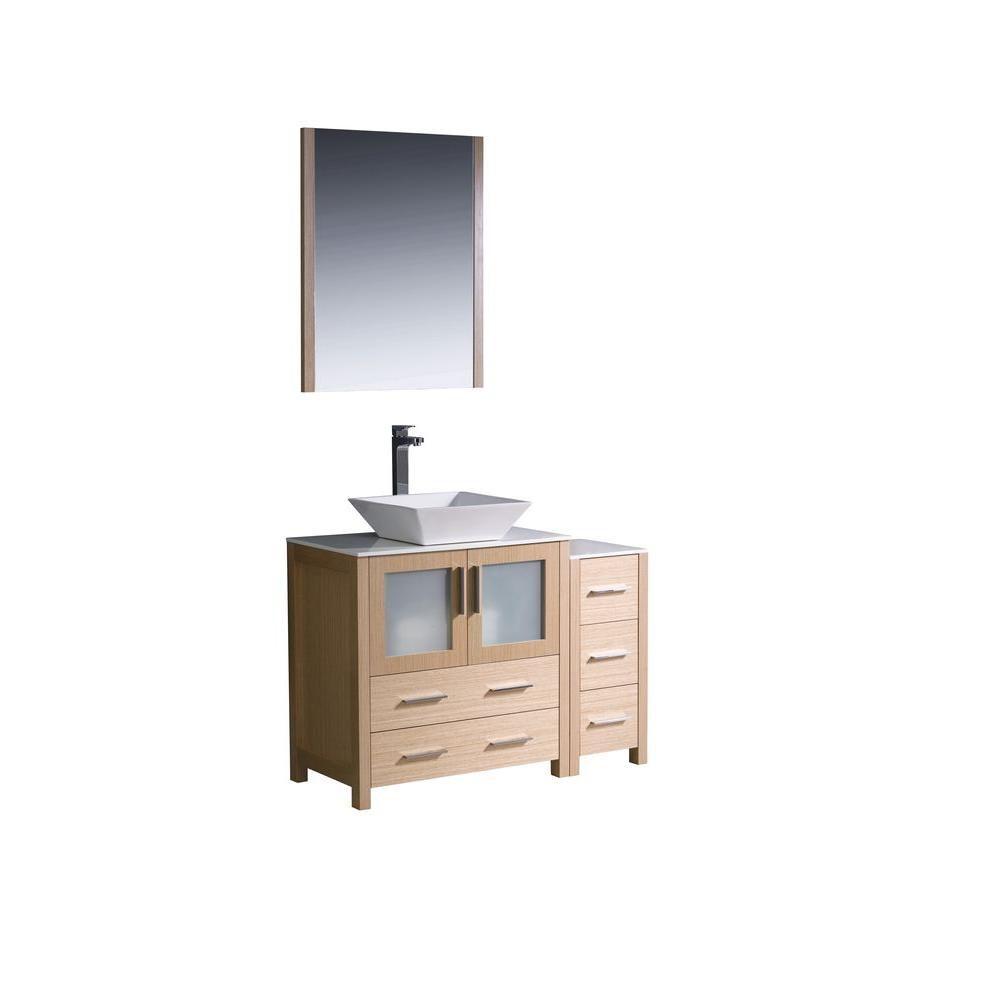 Torino Meuble-lavabo de salle de bains moderne 42 po chêne clair avec armoire latérale et évier v...