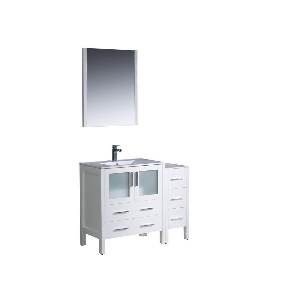 Torino Meuble-lavabo de salle de bains moderne 42 po blanc avec armoire latérale et évier sous-co...