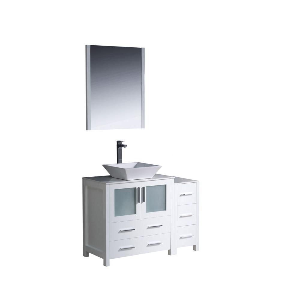 Torino 42-inch W Double Vanity in White Finish with Side Cabinet and Vessel Sink