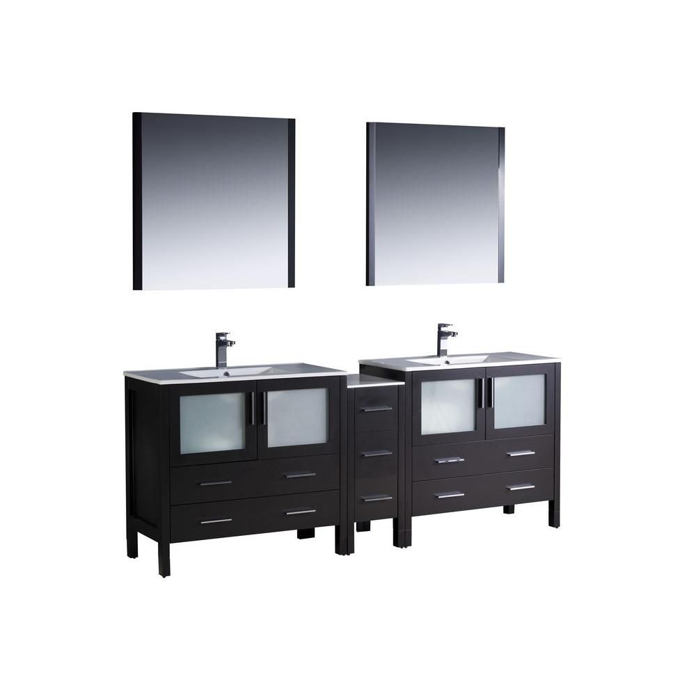 Torino 84-inch W Double Vanity in Espresso Finish with Side Cabinet and Undermount Sinks